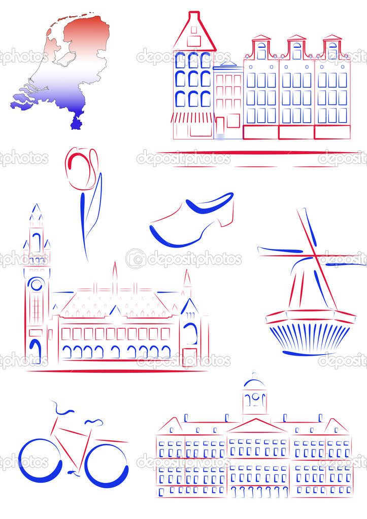 Set of vector drawn stylized sights and symbols of Netherlands — Imagens vectoriais em stock #5291568