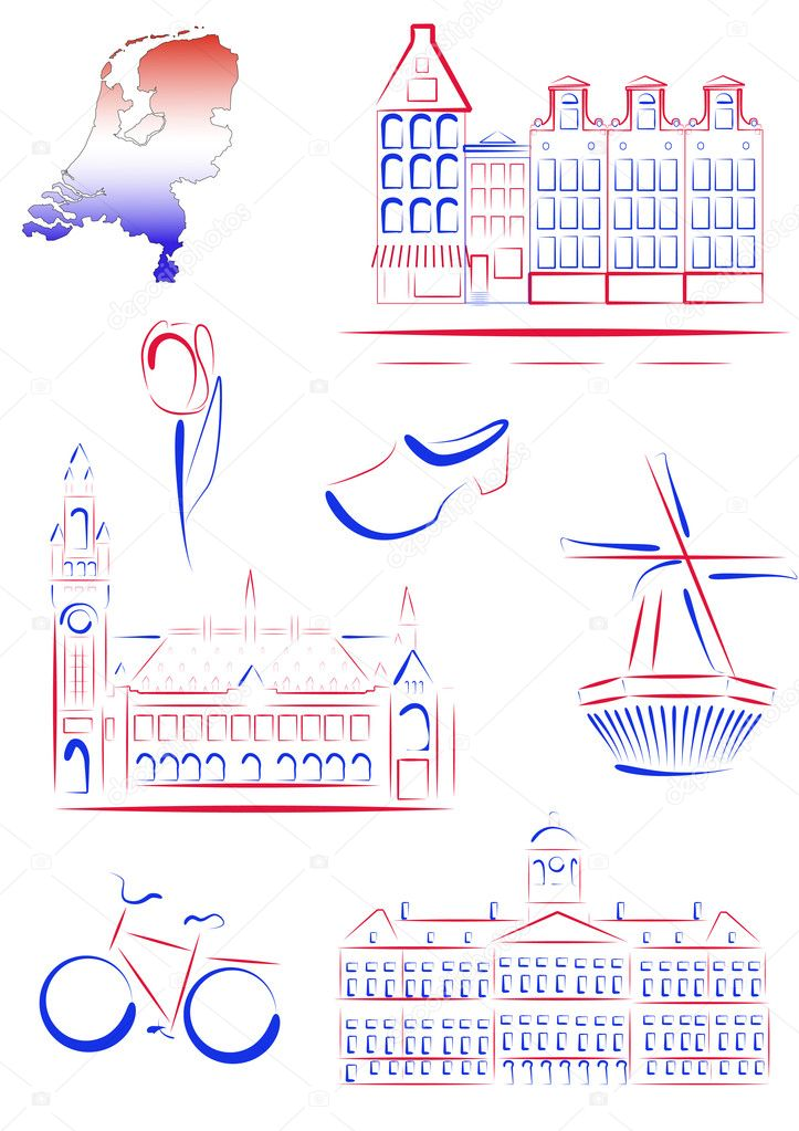 Set of vector drawn stylized sights and symbols of Netherlands — Stock Vector #5291568