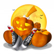 Pretty Halloween pumpkin on white — Stock Photo #3965660