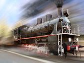 Locomotive in motion blur — Stock Photo