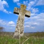 Exalted religious stone cross, cemetery, heaven — Stock Photo #3959304