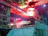 Metallurgical plant, industrial production process — Stock Photo