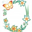 Frame on a white background: butterfly, foliage and flowers - Stock Vector