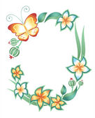 Frame on a white background: butterfly, foliage and flowers — Stock Vector