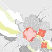 Fondo gris con flores rojas decorativas — Vector de stock