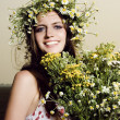 Stock Photo: Beautiful womwith flowers
