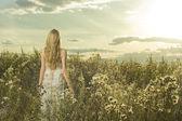 Beautiful girl in field — Stock Photo