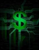 Illustration of virtual, electronic money — Stock Vector