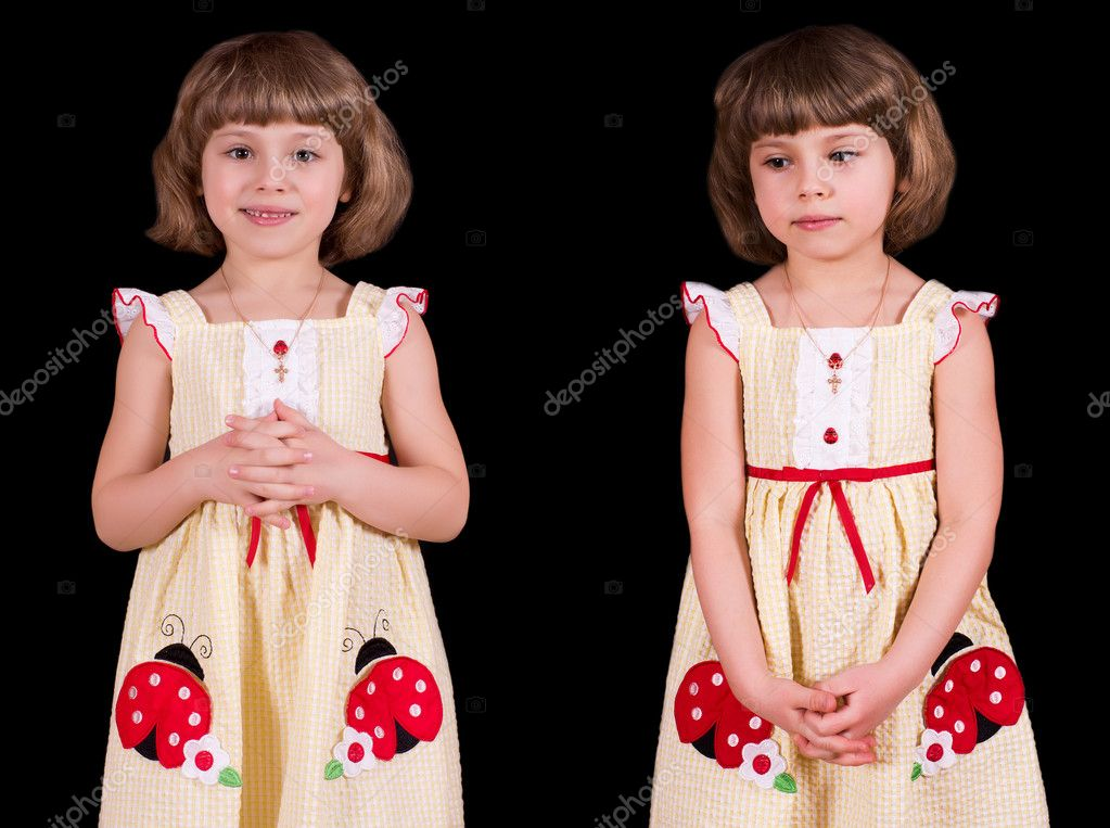 Portrait of modest little girl, isolated on black — Stock Photo #4946204