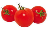 Three red tomatoes, isolated on white background — Stock Photo