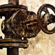 Old rusty sewer valve. Special grunge effect — Stock Photo