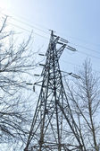 Power transmission tower with cables — Stok fotoğraf