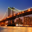 Manhattan Bridge sunset New York City — Stock Photo
