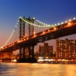 Manhattan Bridge sunset New York City - Stock Photo