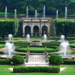 Fountains panorama in garden — Stock Photo