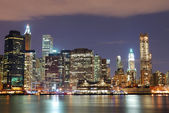 New York City skyscrapers at night — Stock Photo