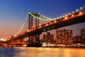 Manhattan Bridge sunset New York City — Stock Photo