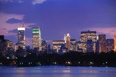 在黄昏的纽约城市天际线 — 图库照片