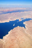 Aerial View with lake and mountains — Stock Photo