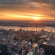 Manhattan Hudson River sunset - Stock Photo