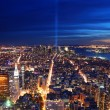 New York City aerial view at night — Foto Stock