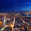 New York City aerial view at night — Stockfoto