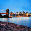 Stock Photo: Brooklyn Bridge and Manhattan skyline in New York City