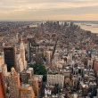 New York City Manhattan sunset skyline panorama - Stock Photo
