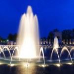 World War II memorial fountain panorama, Washington DC — Stock Photo
