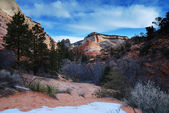 Zion National Park with snow in winter — Stock Photo