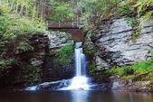 Waterfall with bridge — Stock Photo