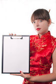 Girl holds a folder — Stock Photo