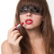 Blindfold and lipstick — Stock Photo