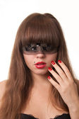 Girl with red nails — Stock Photo