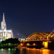Cathedral and Hohenzollern Bridge - Cologne/Köln, Germany — Stock Photo #3959249