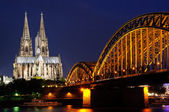Cathedral and Hohenzollern Bridge - Cologne/Köln, Germany — Stock Photo