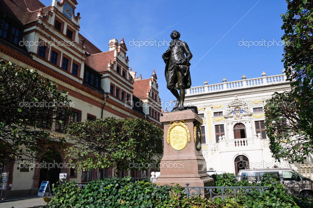 Leipzig Germany  City pictures : Statue of Johann Wolfgang Goethe Leipzig, Germany — Stock Photo ...
