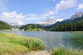 Lago misurina y tre cime di lavaredo - dolomitas, italia — Foto de Stock