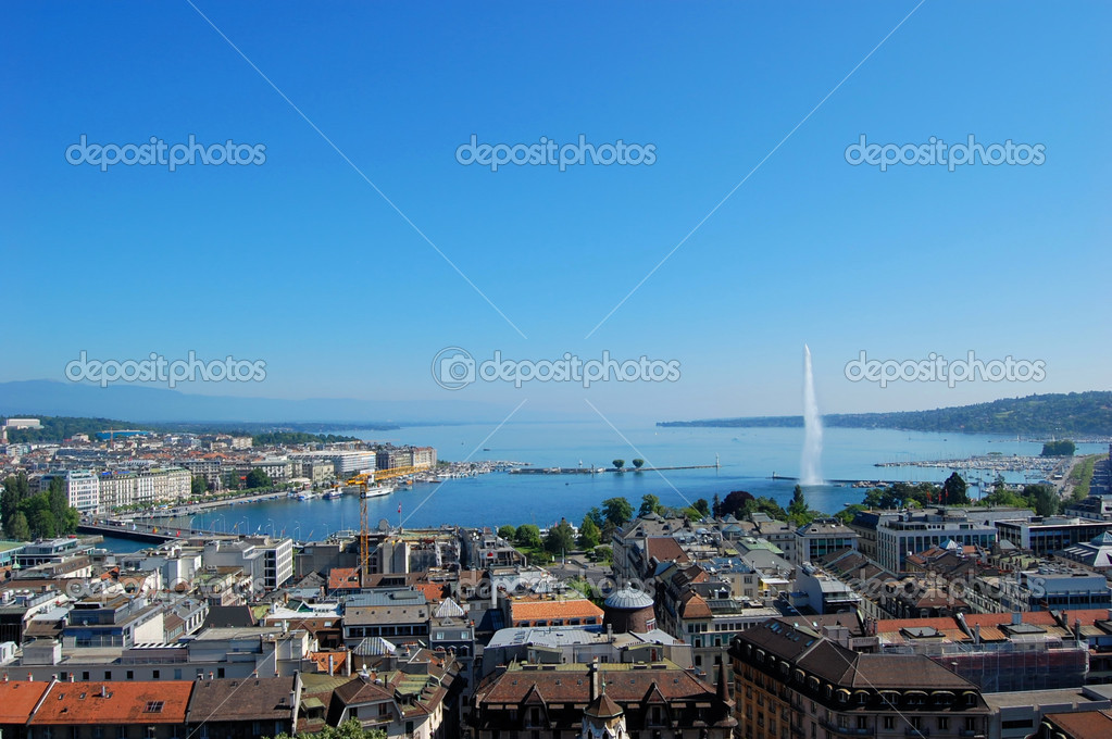 Lake Geneva and the City of Geneva, Switzerland — Stock Photo #5222591