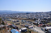 Iida city and Southern Japan Alps — Stock Photo
