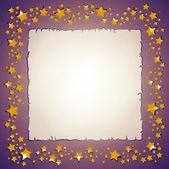Golden stars and paper sheet frame — Stock Photo