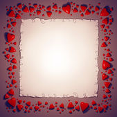 Hearts and paper sheet frame — Stock Photo