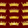 Golden crowns set — Stockvectorbeeld