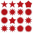 Red stars set. — Stock Vector