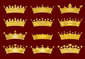 Golden crowns set — Vettoriale Stock