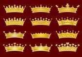 Conjunto de coronas de oro — Vector de stock