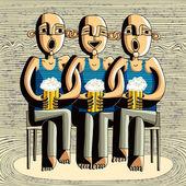 Beer drinking friends — Vettoriale Stock