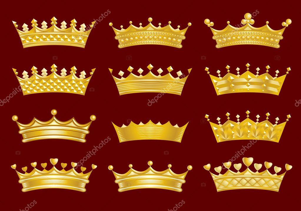 Golden crowns set of 12 — Stock Vector #4588671