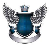 Classic style metallic winged emblem. — Stock Vector