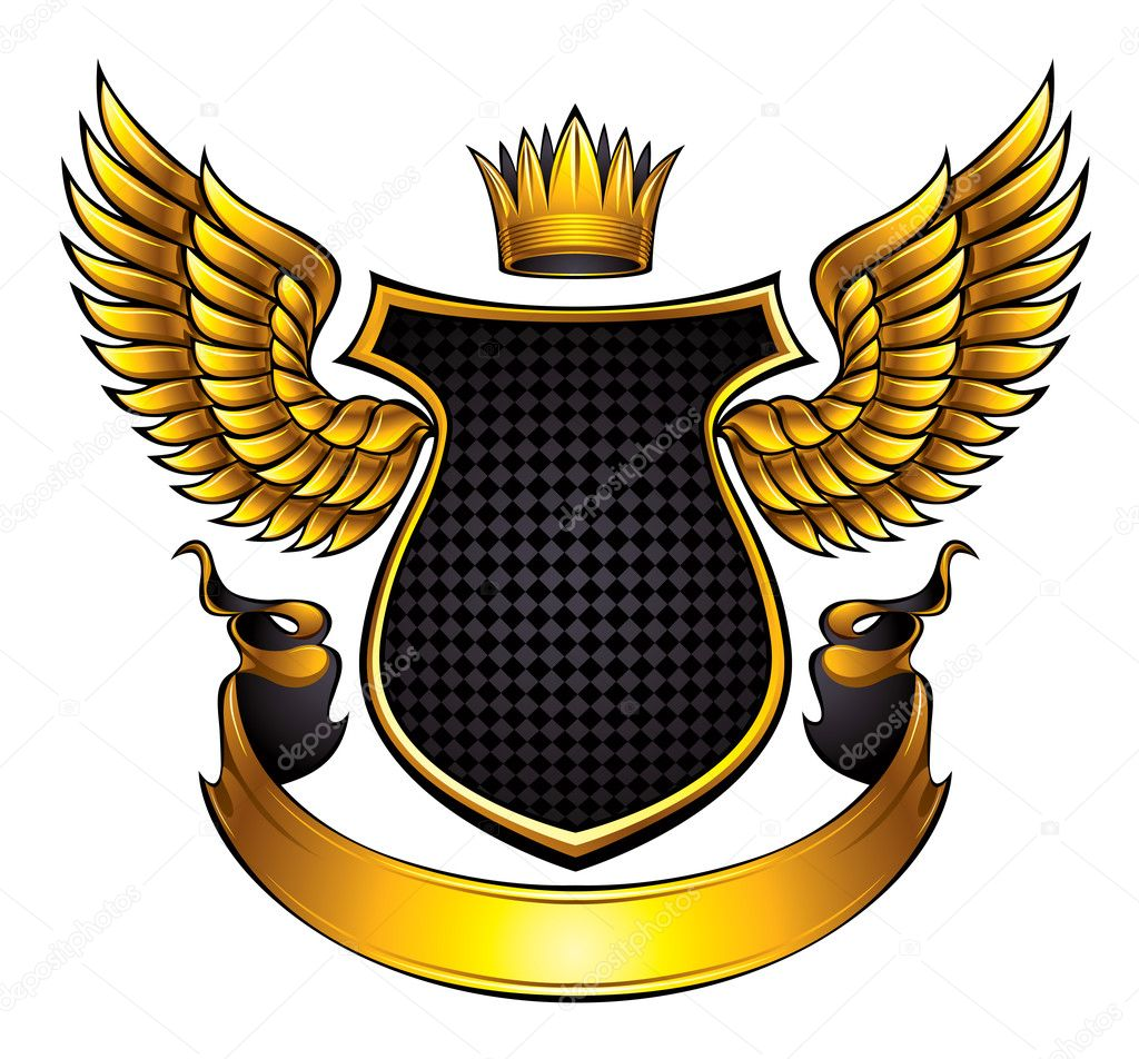Classic style emblem with wings, shield, ribbon and crown. With space for text and company name. Vector, eps8. — Stock Vector #5240250